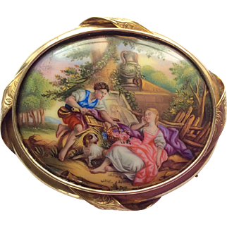 Antique Swiss enamel and gold romantic scene brooch