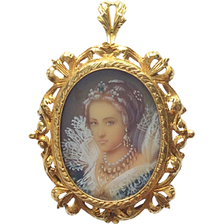 Superb 18k gold and emerald portrait miniature pendant brooch