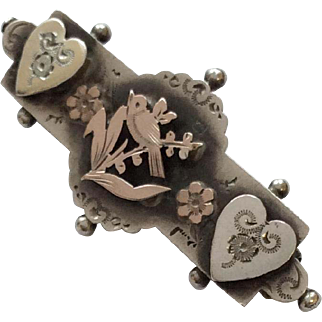 Edwardian English silver & rose gold love bird brooch pin 1906