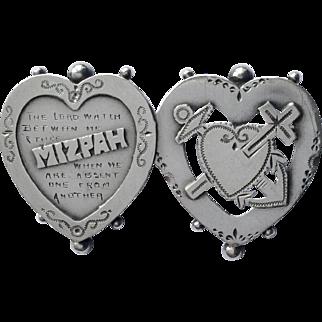 Rare antique English silver Mizpah brooch pin 1899