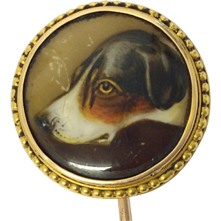 Antique gold and enamel foxhound stick pin by John William Bailey