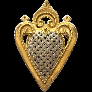 Vintage Norwegian silver & vermeil love heart brooch