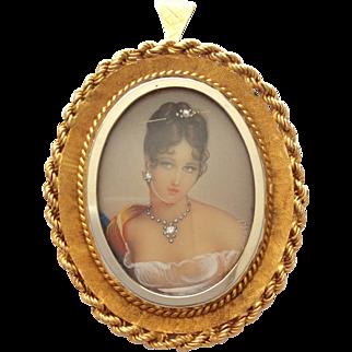 Super 18k gold and diamond portrait miniature pendant brooch