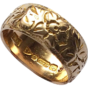 Antique Chester 9ct gold decorative wedding band ring