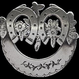 Antique English silver wedding gift brooch pin