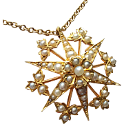Antique Edwardian 15ct Gold Star Burst Pearl Pendant & Chain