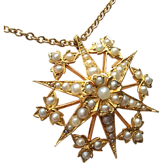 Antique Edwardian 15ct Gold Star Burst Pearl Pendant & Chain