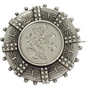 Antique silver rose decorated brooch pin with locket back