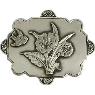 Antique silver aesthetic brooch with swallow bird decoration