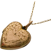 Petite antique 9ct rose gold back and front locket with 9ct gold 18 inch chain