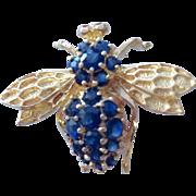 Vintage 14k gold sapphire bee brooch