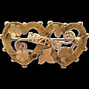 Rare antique 9ct gold Mizpah sweetheart brooch pin