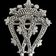 Vintage Scottish silver Luckenbooth love heart brooch pin