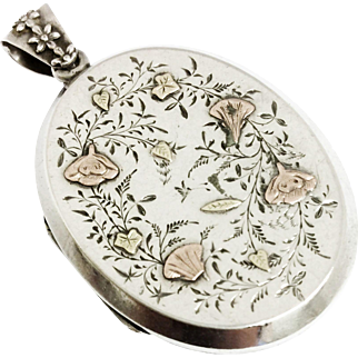 Superb Victorian silver & rose gold locket with aesthetic decoration