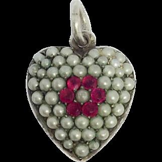 Art nouveau silver pearl encrusted puffy love heart charm pendant