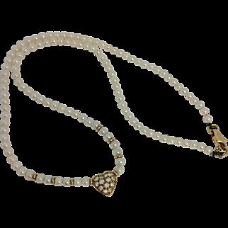 18ct Gold Diamond & Pearl Love Heart Choker Necklace
