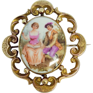 Victorian gold cased romantic scene porcelain picture brooch