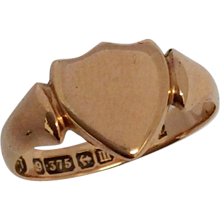 Antique 9ct rose gold signet ring hallmarked 1911
