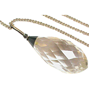 Vintage Art Deco Sterling Silver Rock Crystal & Bloodstone Agate Pendant Necklace