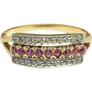 Antique Edwardian 18k 18ct Gold Platinum Rose Cut Diamond & Pink Spinel Ring