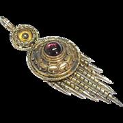 Antique Victorian 15k 15ct Gold Garnet Tassel Pendant