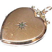 Antique c1915 9k 9ct Gold Back Front Diamond Heart Locket Pendant