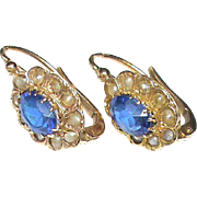 Antique French Victorian 18k 18ct Gold Blue Paste & Seed Pearl Earrings