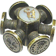 Antique Victorian DOG LOVE HEART Intaglio Desk Seal Wheel