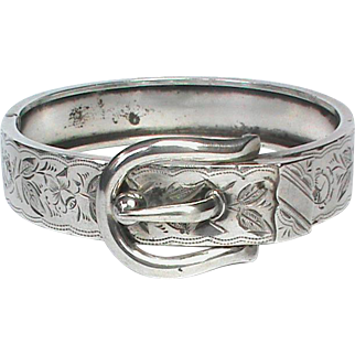 Antique Victorian Sterling Silver Buckle Bangle