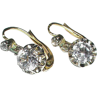 Antique French c1900 18k 18ct Yellow & White Gold Rock Crystal Earrings