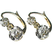 Antique French c1900 18k 18ct Yellow & White Gold DIAMOND Dangly Earrings