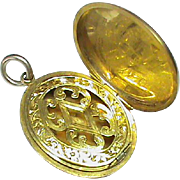 Antique Victorian 9k 9ct Gold Vinaigrette Locket Pendant