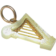 Antique 19th Century 9k 9ct Gold Mother of Pearl HARP Charm