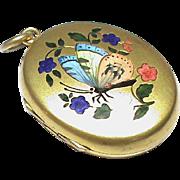 Quality Antique Victorian Enamel Butterfly & Acorn Locket