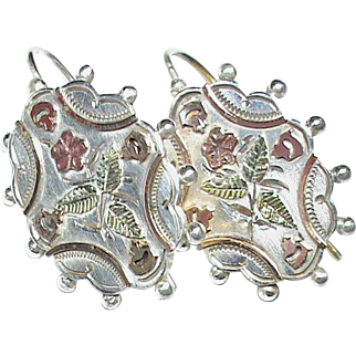Antique Victorian Sterling Silver Earrings with applied 9k 9ct gold decor