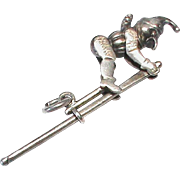 Antique Victorian c1900 Sterling Silver Moving Articulated Mr Punch Acrobat Charm Pendant