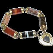 Substantial Victorian Scottish Agate Bracelet with Mourning locket Padlock