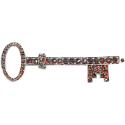 Large Antique Victorian Garnet KEY Brooch