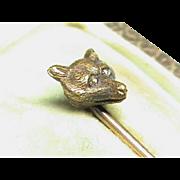 Antique Victorian 15k 15ct Gold Diamond eye Fox Stick Pin & Box