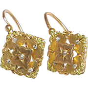 French Antique c1900 18k 18ct three color gold & seed pearl Earrings