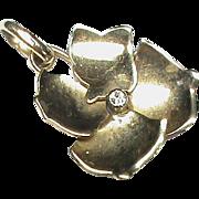 Vintage 9k 9ct Gold Diamond Flower Pendant