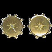 Antique Victorian 15k 15ct Gold Diamond Stud Earrings