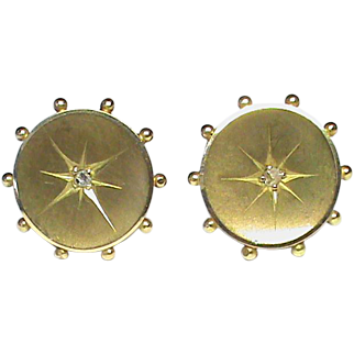 Antique Victorian 15k 15ct Gold Diamond Stud Earrings