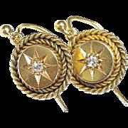 Antique Victorian 15k 15ct Gold & Diamond Earrings