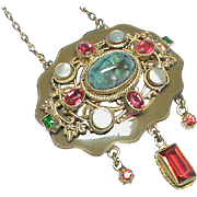 Antique Austro Hungarian Paste, Agate, Enamel and Pearl Necklace