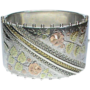 Antique Victorian Sterling Silver WIDE Bangle with gold decor