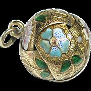Antique Victorian 15k 15ct Gold Enamel Ball Charm or Pendant