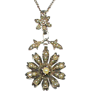 Antique Victorian Silver Seed Pearl Flower Pendant Necklace