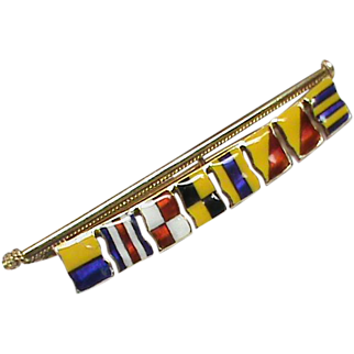 Quality Vintage English 1956 9k 9ct Gold Enamel Maritime Signal Flag Brooch GOOD LUCK