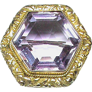 Large Antique Victorian 9k 9ct Gold AMETHYST Brooch